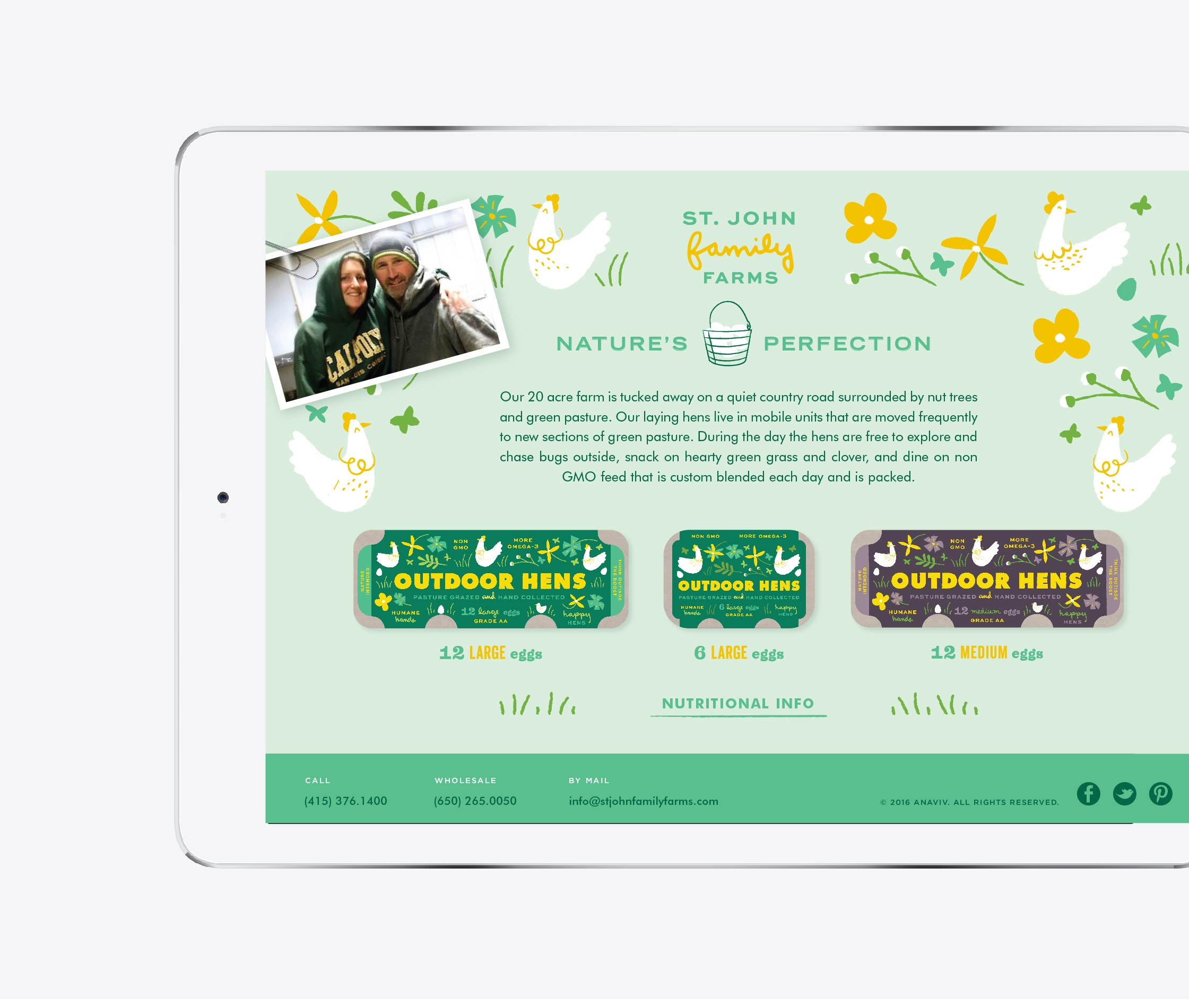 Website design concept for St John Family Farm's Brand experience