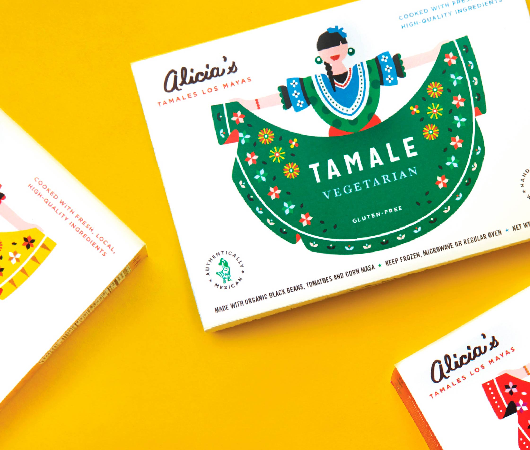 Line up of packaging for Alicia's Tamales Los Mayas packaging by Olio studio