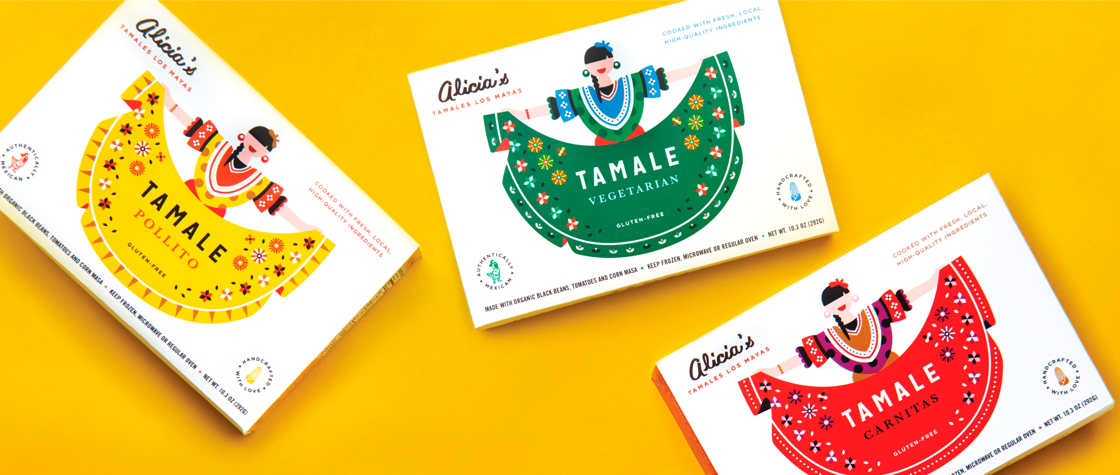 Line up of packaging for Alicia's Tamales Los Mayas packaging
