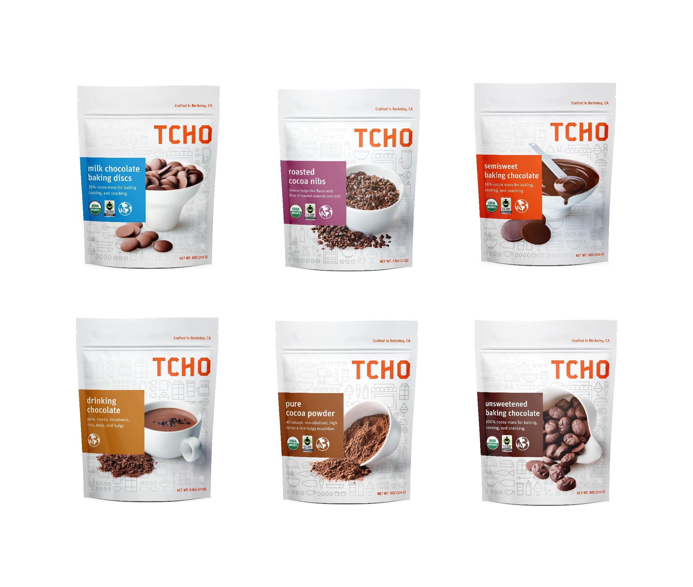 Packaging design line up for Tcho chocolate