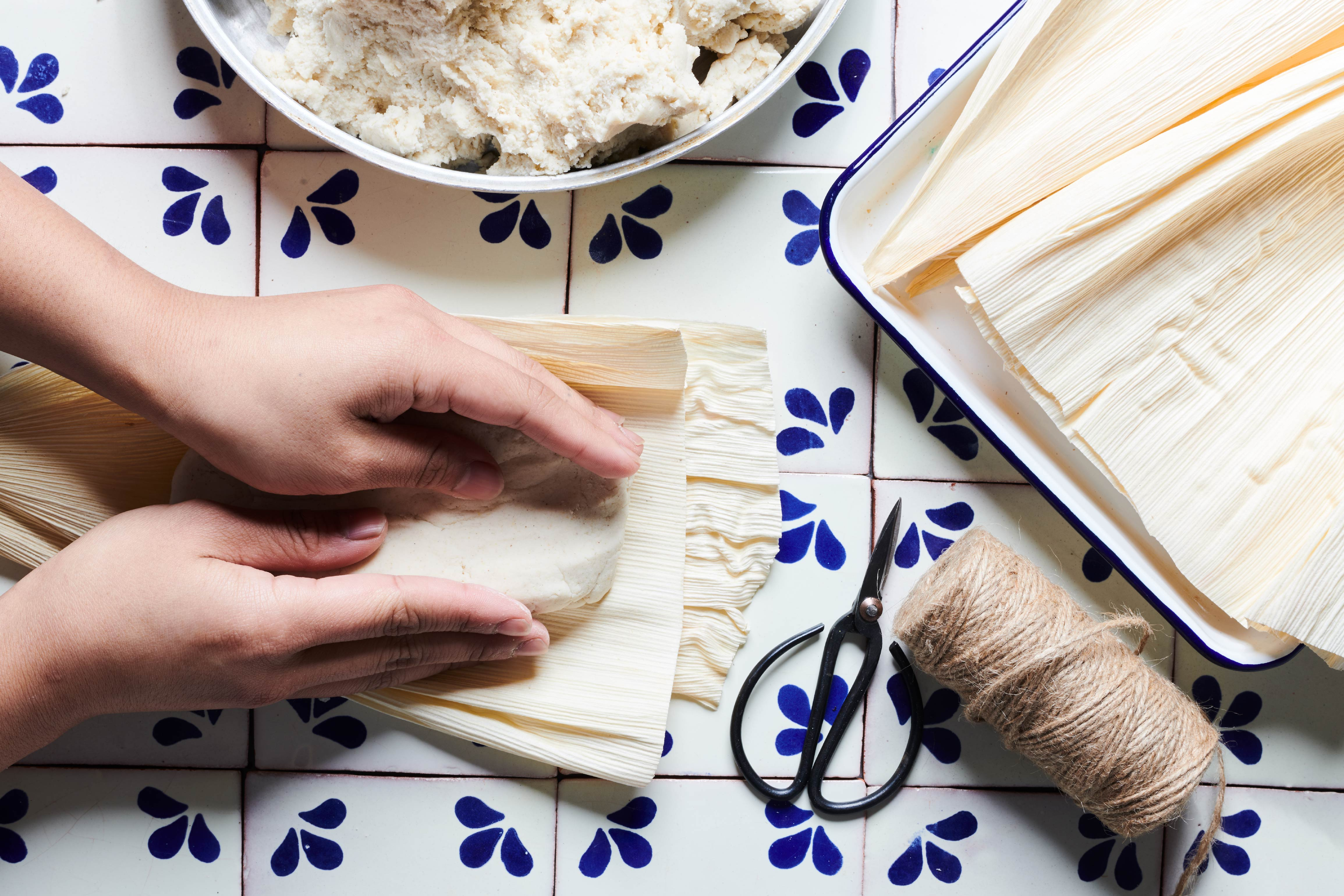 Food photography with woman making tamales for Alicia's Tamales Los Mayas