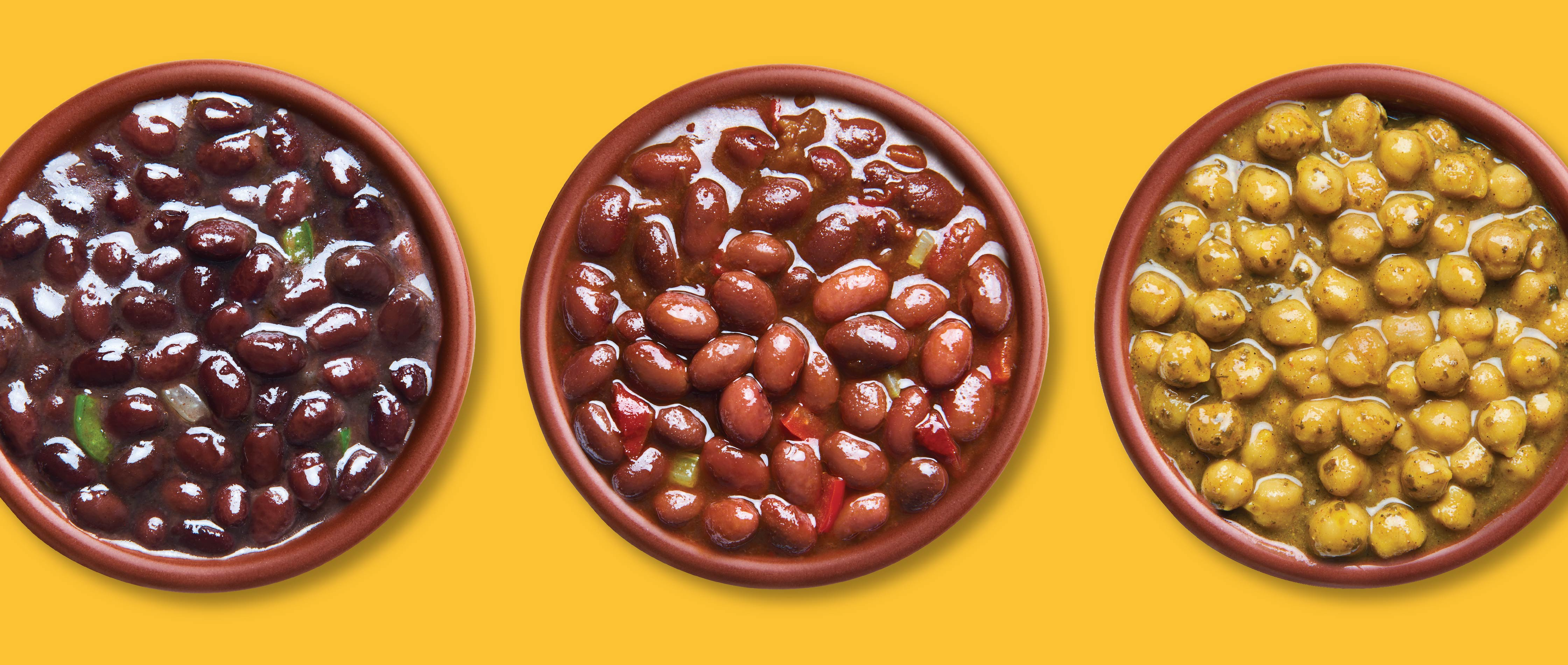Food photography line up of Beans from a dozen cousins