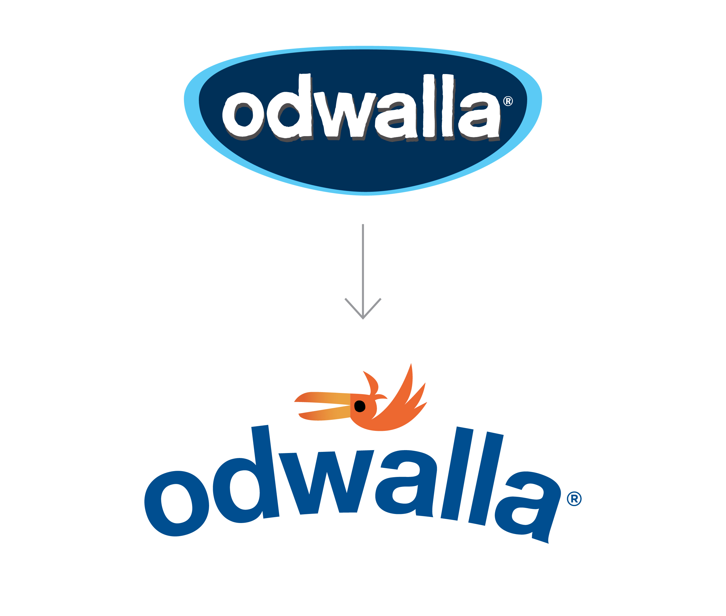Odwalla Logo transformation From Shield back to bird